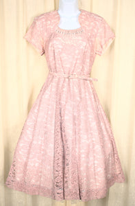 1950s Vintage Light Pink Lace Dress
