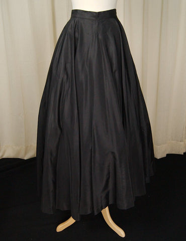 1950s Long Black Full Skirt