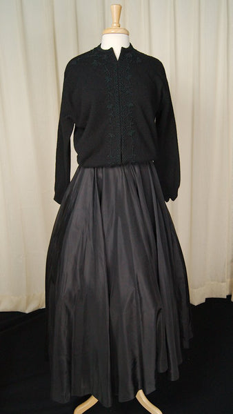 1950s Long Black Full Skirt - Cats Like Us