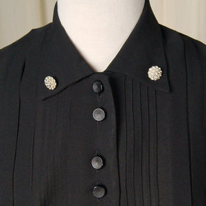 1950s LS Black Shirt Dress