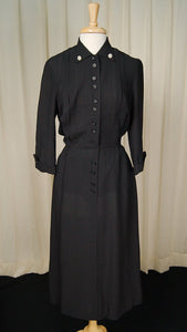 1950s LS Black Shirt Dress - Cats Like Us