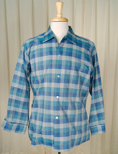 1950s LS Blue Plaid Arrow Shirt