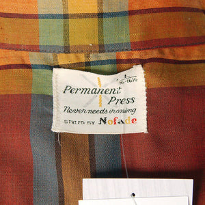 1950s LS Gold & Brn Plaid Shirt