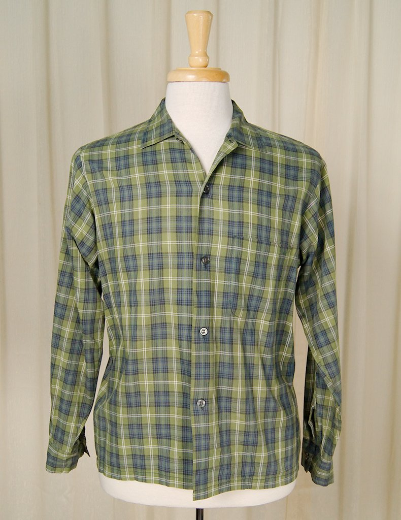 1950s LS Green Gingham Shirt - Cats Like Us