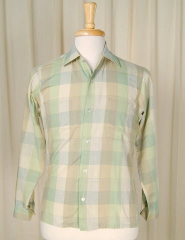 1950s LS Mint & Tan Plaid Shirt