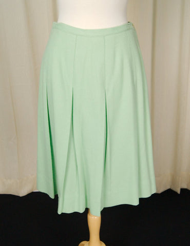 1950s Mint Pleated Skirt