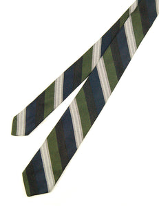 1950s Navy & Green Striped Tie by Cats Like Us - Cats Like Us