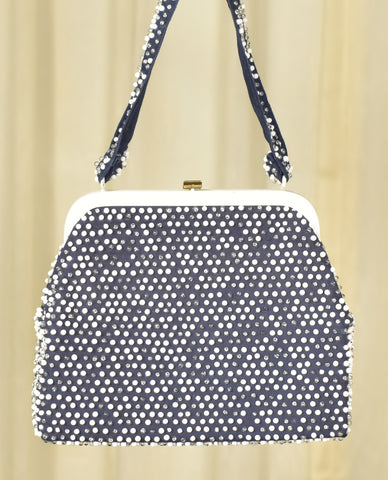 1950s Navy & White Dot Handbag