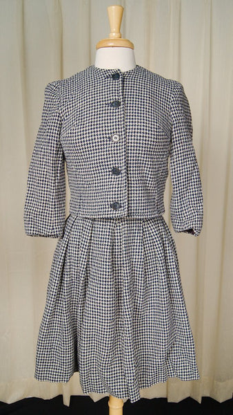 1950s Navy & White Skirt Suit - Cats Like Us
