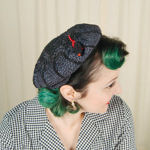 1950s Navy Beaded Fancy Hat by Cats Like Us - Cats Like Us