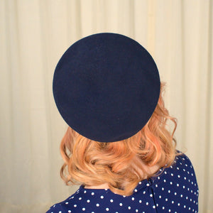 1950s Navy Beret Cap Hat - Cats Like Us