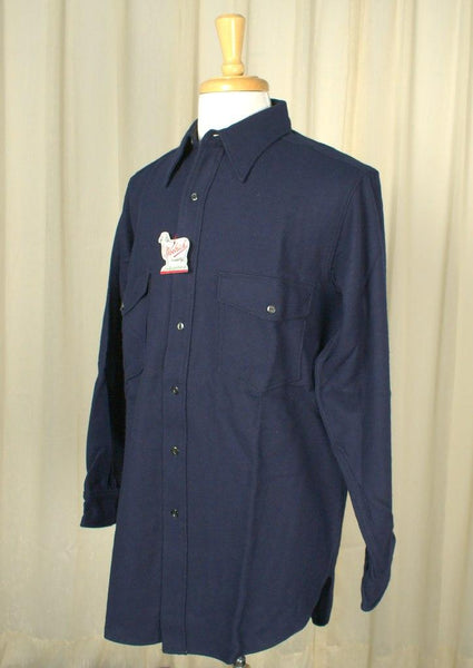 1950s Navy Blue Wool Shirt - Cats Like Us