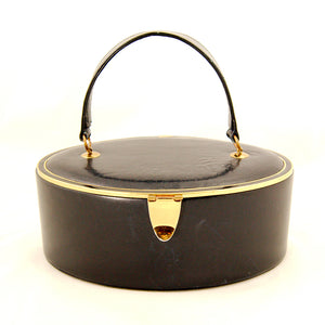 1950s Navy Leather Oval Box Bag