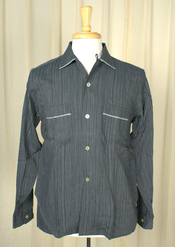 1950s Navy Stripe LS Shirt - Cats Like Us