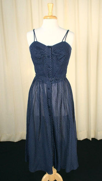 1950s Navy Swiss Dot Sun Dress - Cats Like Us