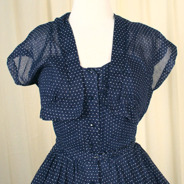 1950s Navy Swiss Dot Sun Dress
