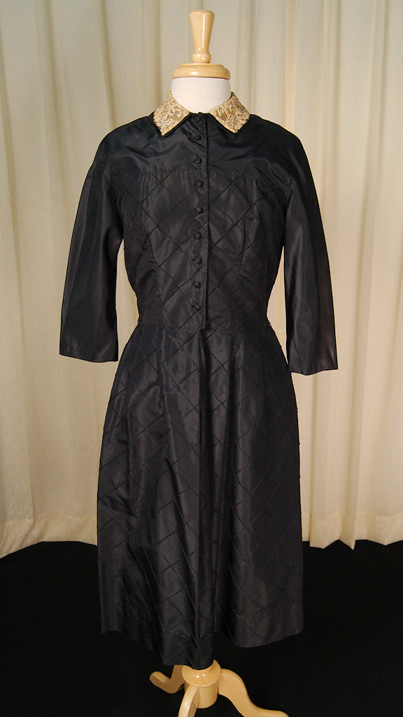 1950s Navy Taffeta & Lace Dress by Vintage Collection by Cats Like Us - Cats Like Us