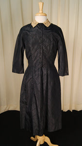 1950s Navy Taffeta & Lace Dress by Cats Like Us : Cats Like Us