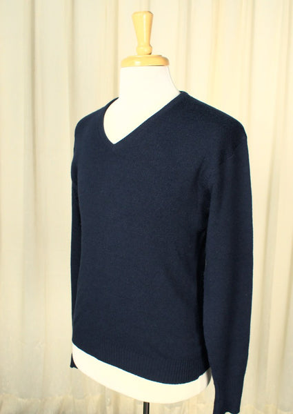 Vintage 1950s Navy V Neck Sweater