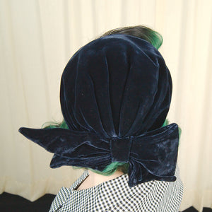 1950s Navy Velvet Bow Cap by Cats Like Us - Cats Like Us