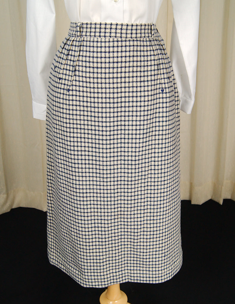 1950s Navy Window Check Skirt by Cats Like Us - Cats Like Us