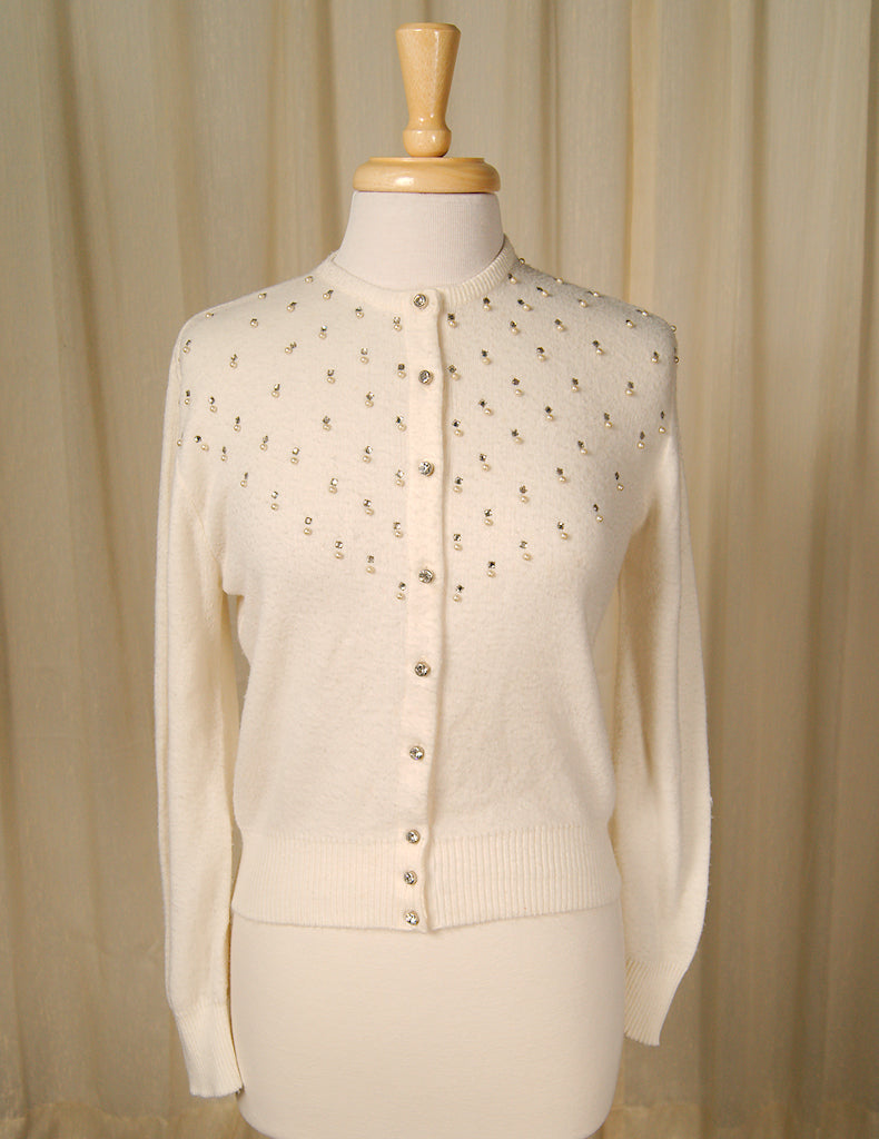 1950s Off White Pearl Cardigan by Vintage Collection by Cats Like Us - Cats Like Us