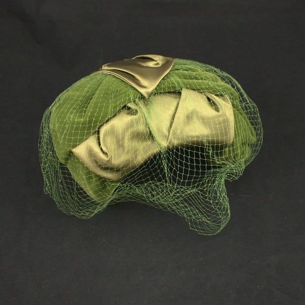 1950s Olive Green Crescent Hat - Cats Like Us