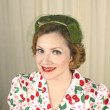 Cats Like Us Vintage 1950s Olive Green Crescent Hat