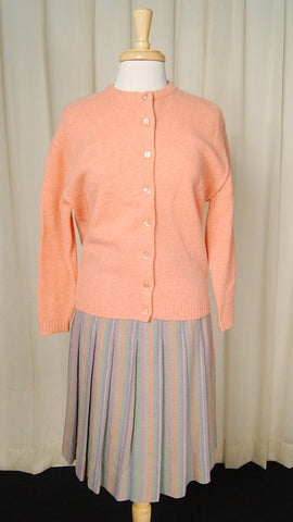 1950s Peach Wool Cardigan - Cats Like Us