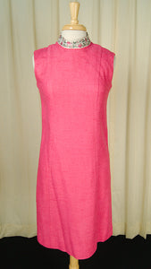 1950s Pink Linen Shift Dress by Vintage Collection by Cats Like Us - Cats Like Us