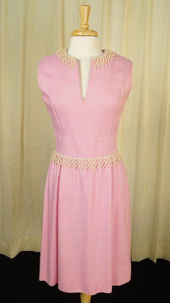 1950s Pink Linen Trim Dress by Vintage Collection by Cats Like Us - Cats Like Us