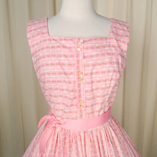 1950s Pink Roses & Lace Dress