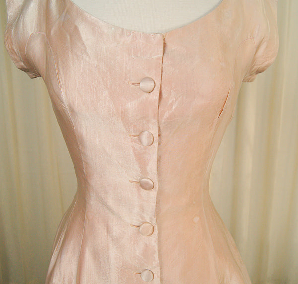 1950s Pink Sateen Bow Dress by Cats Like Us - Cats Like Us