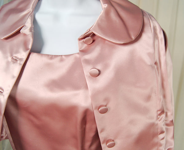 1950s Pink Satin Dress Suit by Cats Like Us - Cats Like Us