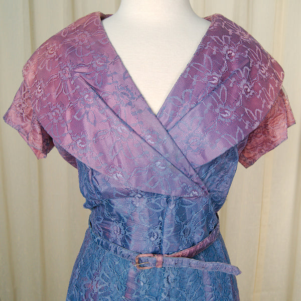 1950s Purple & Pink Lace Dress