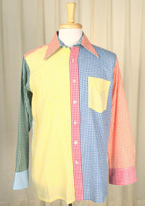 1950s Rainbow Gingham Shirt - Cats Like Us