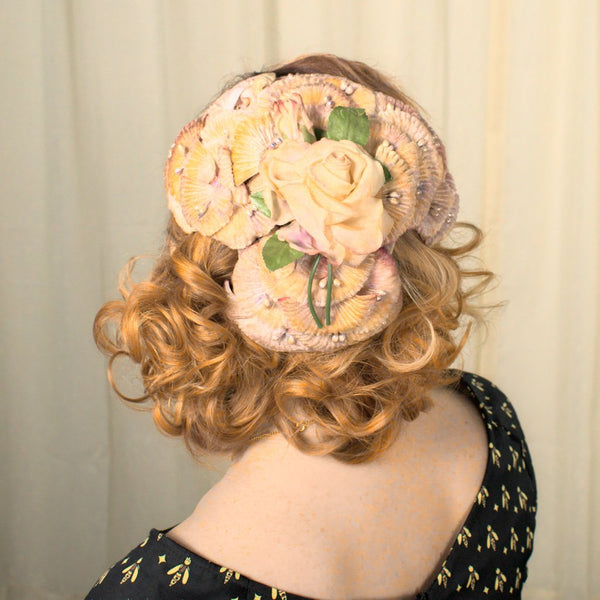 1950s Rose Flower Cap Hat - Cats Like Us