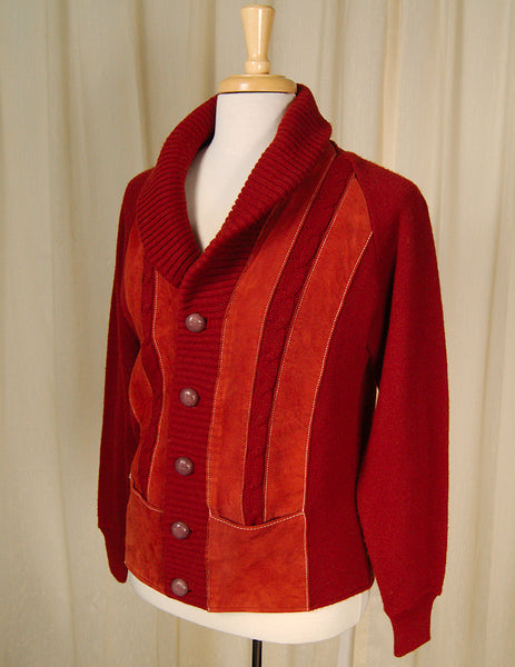 1950s Rust Ultra Suede Cardigan by Vintage Collection by Cats Like Us : Cats Like Us