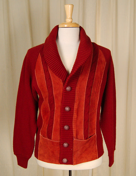 1950s Rust Ultra Suede Cardigan by Cats Like Us : Cats Like Us
