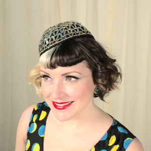 1950s Sequin Bow Cap Hat