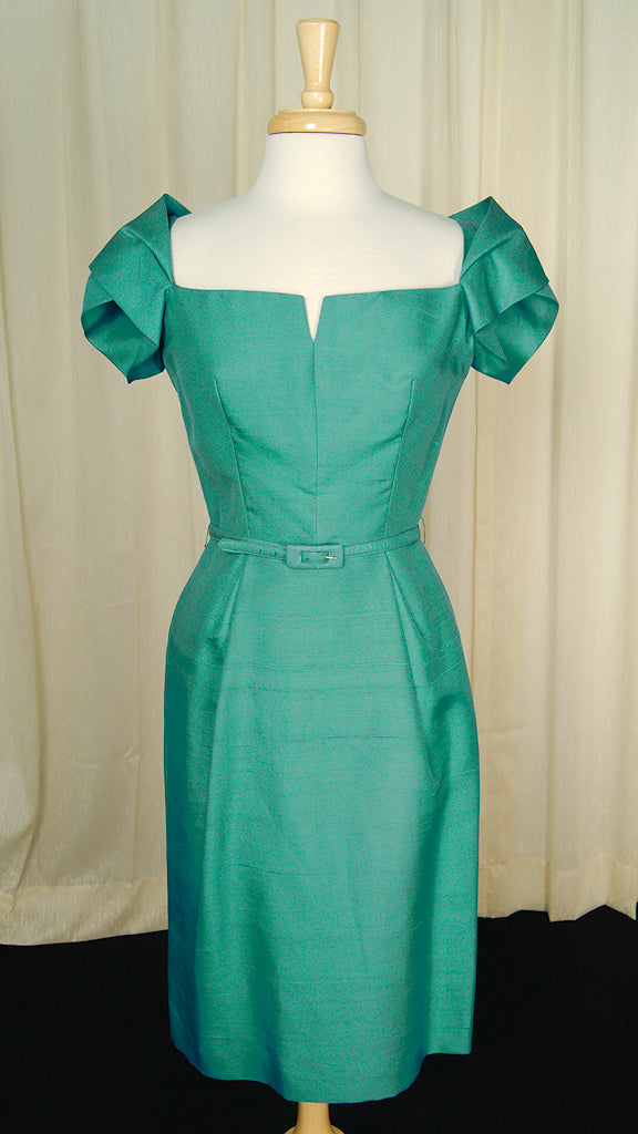 1950s Sexy Teal Wiggle Dress by Cats Like Us : Cats Like Us