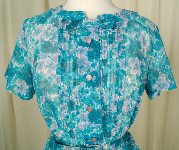 1950s Sheer Floral Day Dress by Vintage Collection by Cats Like Us - Cats Like Us