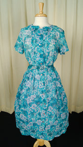 1950s Sheer Floral Day Dress