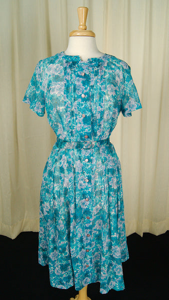 1950s Sheer Floral Day Dress by Vintage Collection by Cats Like Us : Cats Like Us