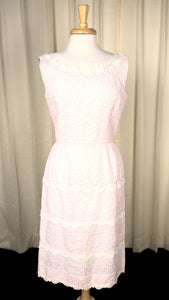1950s Vintage  Sheer Illusion Pink Dress
