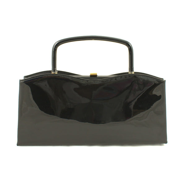 1950s Vintage Shiny Black Patent Clutch