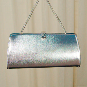 1950s Silver Clutch Handbag by Cats Like Us - Cats Like Us