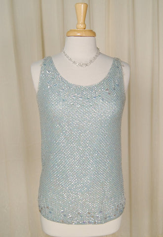 1950s Sky Blue Sequin Top