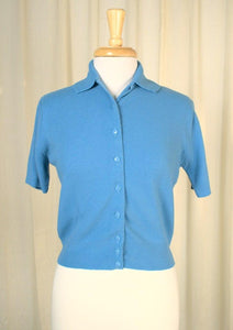 1950s Soft Blue Button Sweater
