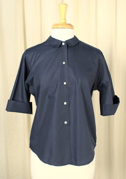 1950s Solid Navy Blue Vintage Blouse